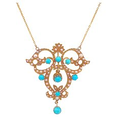 Victorian 14K Gold Seed Pearl & Persian Turquoise Pendant Necklace