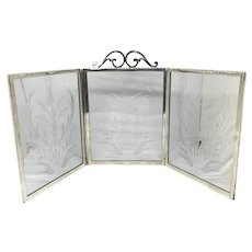Tiffany & Co. Sterling & Etched Crystal Three Panel Table Screen