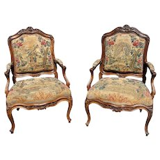 18th C. Rare Pair French Regence Period Bergeres Arm Chairs
