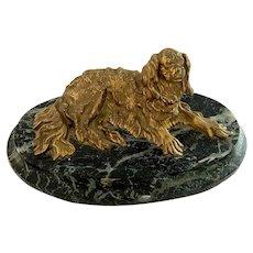 19th C. French Gilt Bronze Cavalier King Charles Spaniel