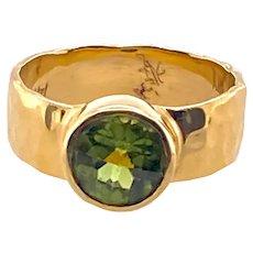 Hand Hammered 14K Gold & Peridot Ring