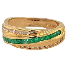 14K Gold Channel Set Diamond and Emerald Ring / Band