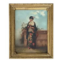 19th C. American Painting Oil on Canvas of  a Woman Dressed in Kimono
