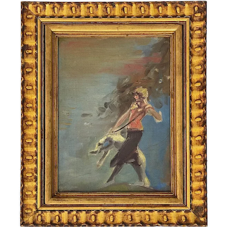 Art Deco Oil on Canvas Board Painting Of Woman Walking a Borzoi