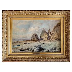 Oil on Canvas A coastal Vew With Ships by  James H. Blunt