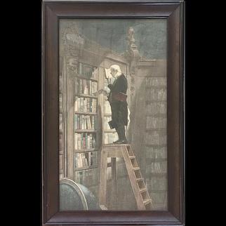"""Carl Spitzweg Lithograph """" The Bookworm"""" 1861"""