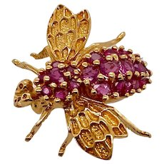 Vintage 14K Gold and Ruby Bee Brooch
