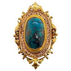 Victorian 14K Gold and Turquoise Etruscan Pin / Pendant