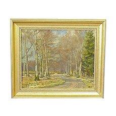 Landscape Trees Oil Canvas Scandinavian Signed A I 1930
