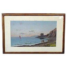 19th C Italian Gouache Painting Bay Of Naples C 1880