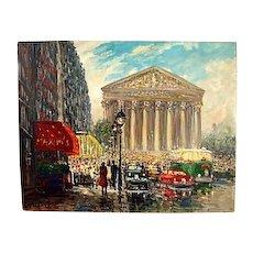 Eugene Pachaubes Paris Street Scene Oil On Canvas