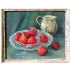 Caroline Van Hook Bean Still Life With Strawberries