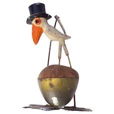 Metal  Stork Pincushion Victorian