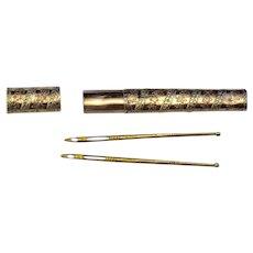 18th century  French 18 k Gold Etui Needle Case & Bodkins