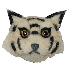 Antique  Cat Brooch Glass Eyes Bristle  Odd C clasp: