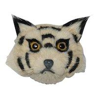 Antique  Cat Brooch:  Glass Eyes:  Genuine Bristle: Unusual  C clasp: