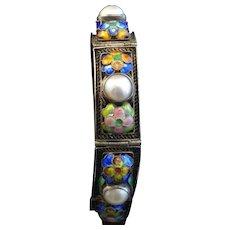 Antique Chinese Filigree Silver Enamel Pearl  Bracelet Signed