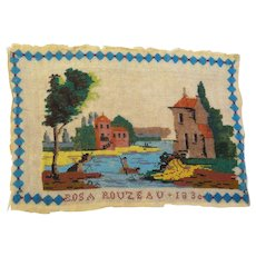 Rare French Sable Beadwork Picture/Sampler Signed & Dated 1830  Georgian Era