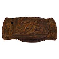 18th Century Georgian French Folk Art carved Coquilla Nut Snuff Box C 1780