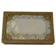 Georgian French Palais Royal Mother Of Pearl/ Gilded Bronze Fitted Sewing Box