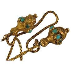 Georgian 18kt Gold Twin Stickpin  Cloak pins Turquoises Bezel Set Ornate with Chain