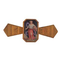 19th c  14 k Gold Enamel  Portrait Brooch