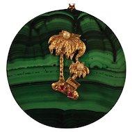 Florida Pendant 14kt Gold Gemstones Palm Trees