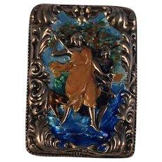 Antique Embossed Silver Enamel Match Safe Vesta case Diana Animals