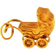 Adorable Antique Doll  English 9 kt Gold Charm Mechanical  Doll Buggy/ Doll