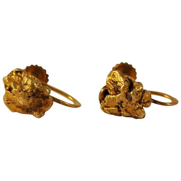 Antique Gold Nugget Earrings 22 Kt Nuggets On Alaskan
