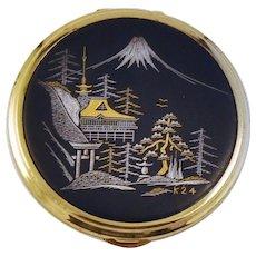 Japanese Komai Powder Compact 24 kt Gold Silver Mixed Metals Scenic