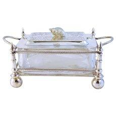 Antique Sardine Box Nautical Designs  G.J. & Co Silver Plate