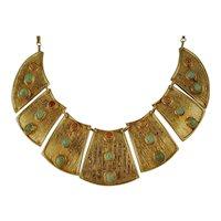 Egyptian Revival Bib Necklace Gilded Silver Gemstones