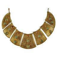 Antique Egyptian Revival Wide Bib necklace Gilded Silver Gemstone Hieroglyphics