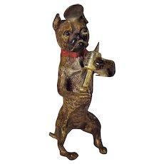 Antique Bergman Bronze Doctor Boxer Dog Figurine