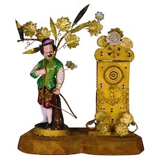 "French Novelty Perfume Bottle Set ""William Tell"" Clocktower Cased Glass French Perfume Bottle 1800's"