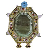Antique Venetian Micro Mosaic Mirror Elaborate Art Glass 19th Century