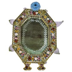 Antique Venetian Micro Mosaic Glass Large Mirror Elaborate Art Glass Decorations  Free Standing 19th Century  16""