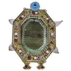 "Antique Venetian Micro Mosaic Glass Large Mirror Elaborate Art Glass Decorations  Free Standing 19th Century  16"""