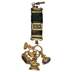 Georgian Armorial  Wax Seal Fob Collection (4) Hand-Carved Gemstones