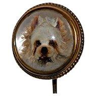 Antique 18 kt Gold Stickpin Essex Crystal Intaglio West Highland Terrier