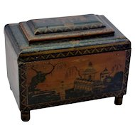 Georgian Penwork Tea Caddy Box Intricate Chinoiserie Decoration C1800