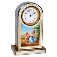 Antique Austrian Gilded Silver Guilloche Enamel Miniature Clock  Scene