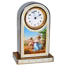 Antique Austrian Gilded Silver Guilloche Enamel Miniature Clock  Scene