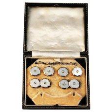 Art Deco Platinum Gold Diamonds Pearl Cuff Link Stud set  1920's
