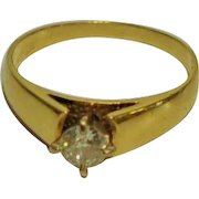 Antique Diamond solitaire ring 14kt Yellow gold Stamped High Polish .40 kt Old European Cut Diamond
