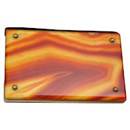 Rare Antique Scottish Banded Agate Calling Card Case