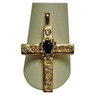 Stunning 14 kt yellow Gold/ Sapphire / Diamonds Cross Pendant Spectacular!