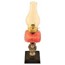 Antique 1800's Figural Oil Lamp  Portrait Opalescent Cranberry Glass Silver