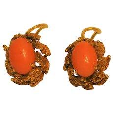 Coral 14 kt Gold Designer Clip Earrings Ornate 1950's